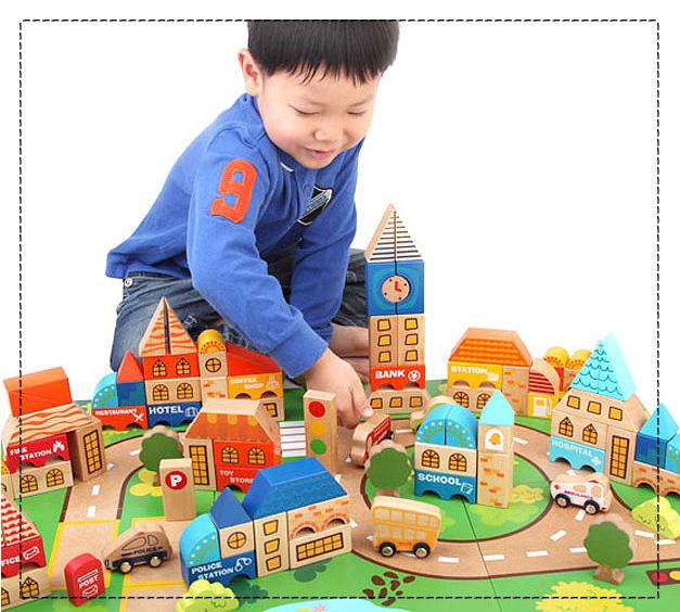 아이세이프몰 – 놀이학습교구(블럭·쌓기) – 디럭스고급시티블록과 활용교재